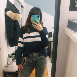 Super-soft navy striped AE sweater